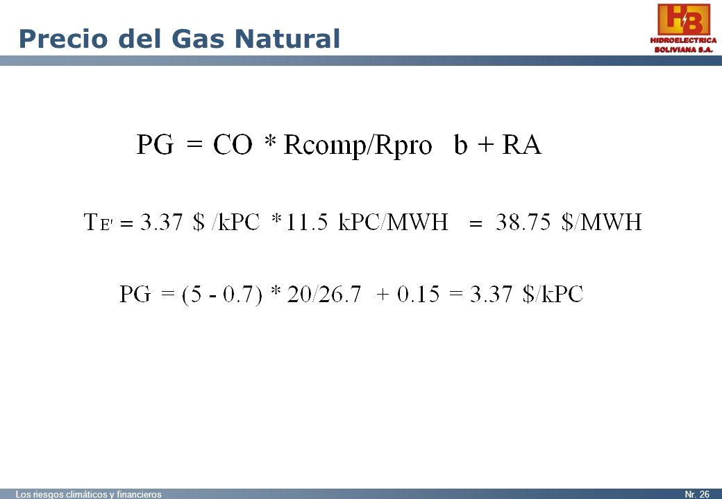 Los riesgos climáticos y financierosNr. 26 Precio del Gas Natural