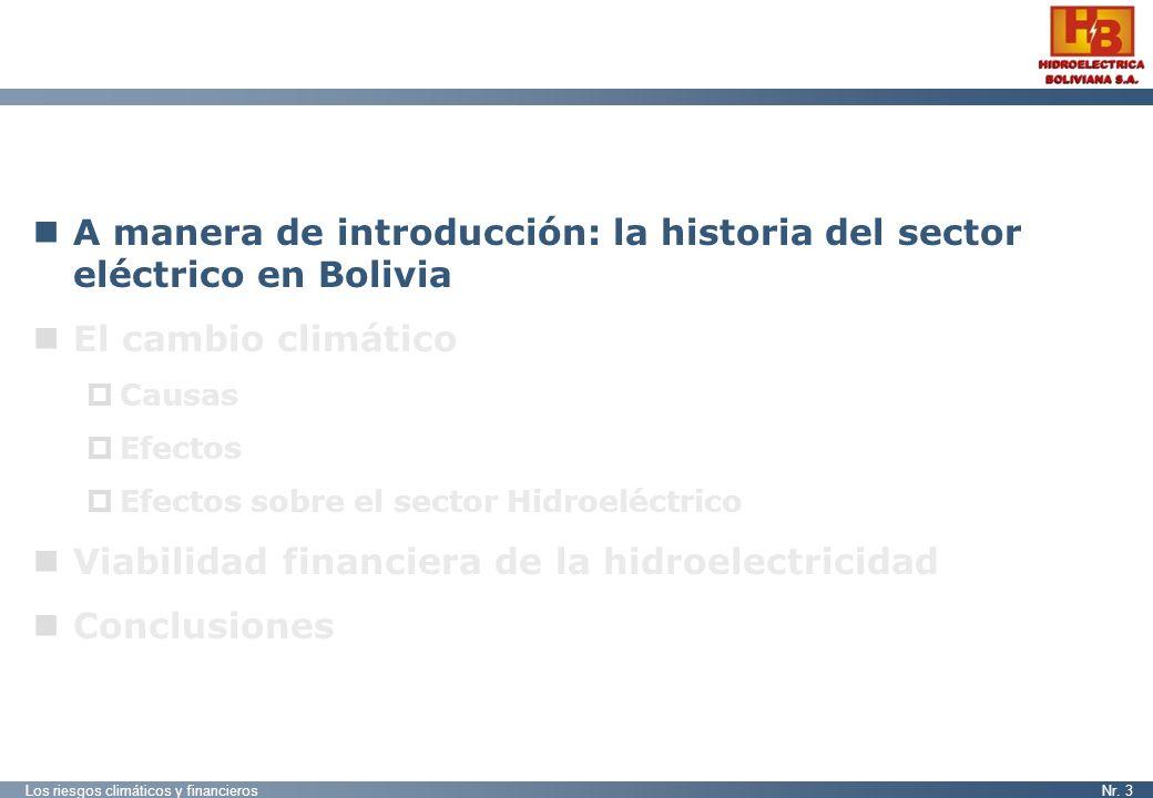 Los riesgos climáticos y financierosNr. 3 A manera de introducción: la historia del sector eléctrico en Bolivia El cambio climático Causas Efectos Efe