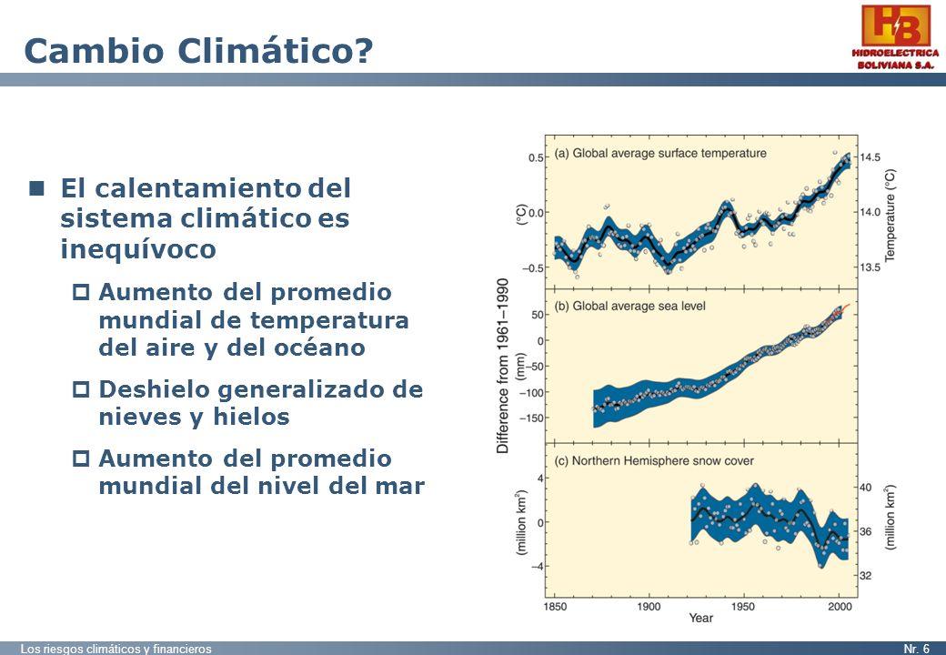Los riesgos climáticos y financierosNr. 6 Cambio Climático? El calentamiento del sistema climático es inequívoco Aumento del promedio mundial de tempe