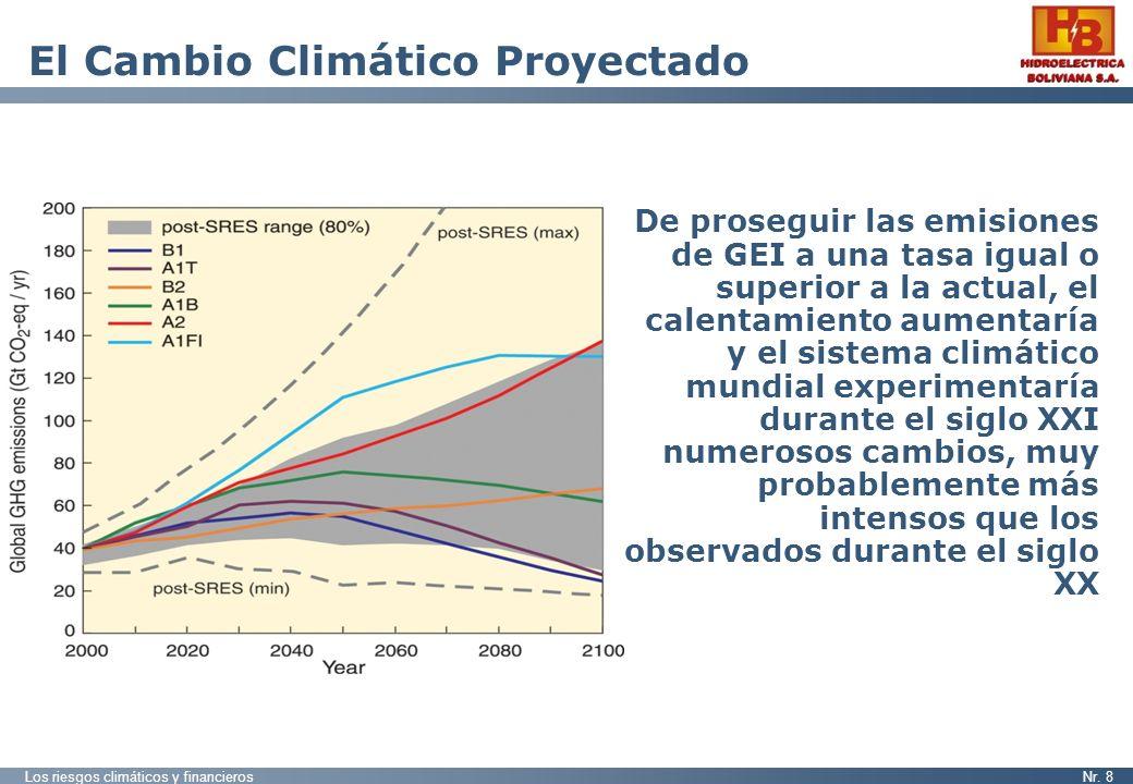 Los riesgos climáticos y financierosNr. 8 El Cambio Climático Proyectado De proseguir las emisiones de GEI a una tasa igual o superior a la actual, el