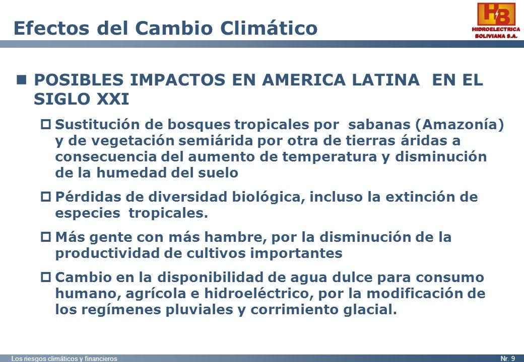 Los riesgos climáticos y financierosNr. 9 Efectos del Cambio Climático POSIBLES IMPACTOS EN AMERICA LATINA EN EL SIGLO XXI Sustitución de bosques trop