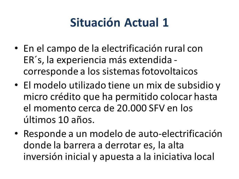 Situación Actual 1 En el campo de la electrificación rural con ER´s, la experiencia más extendida - corresponde a los sistemas fotovoltaicos El modelo