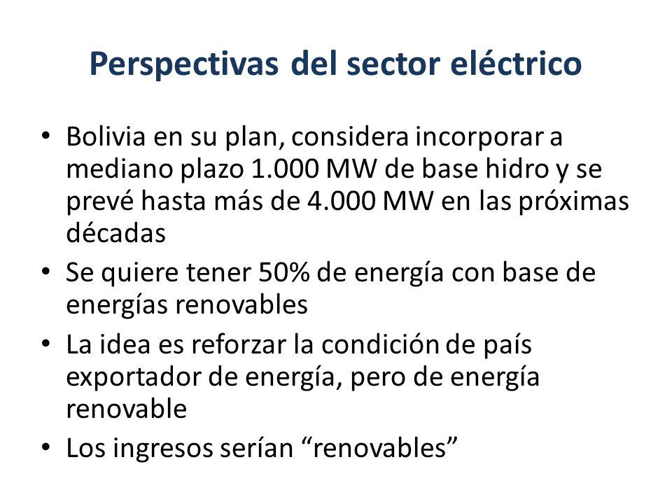 Perspectivas del sector eléctrico Bolivia en su plan, considera incorporar a mediano plazo 1.000 MW de base hidro y se prevé hasta más de 4.000 MW en
