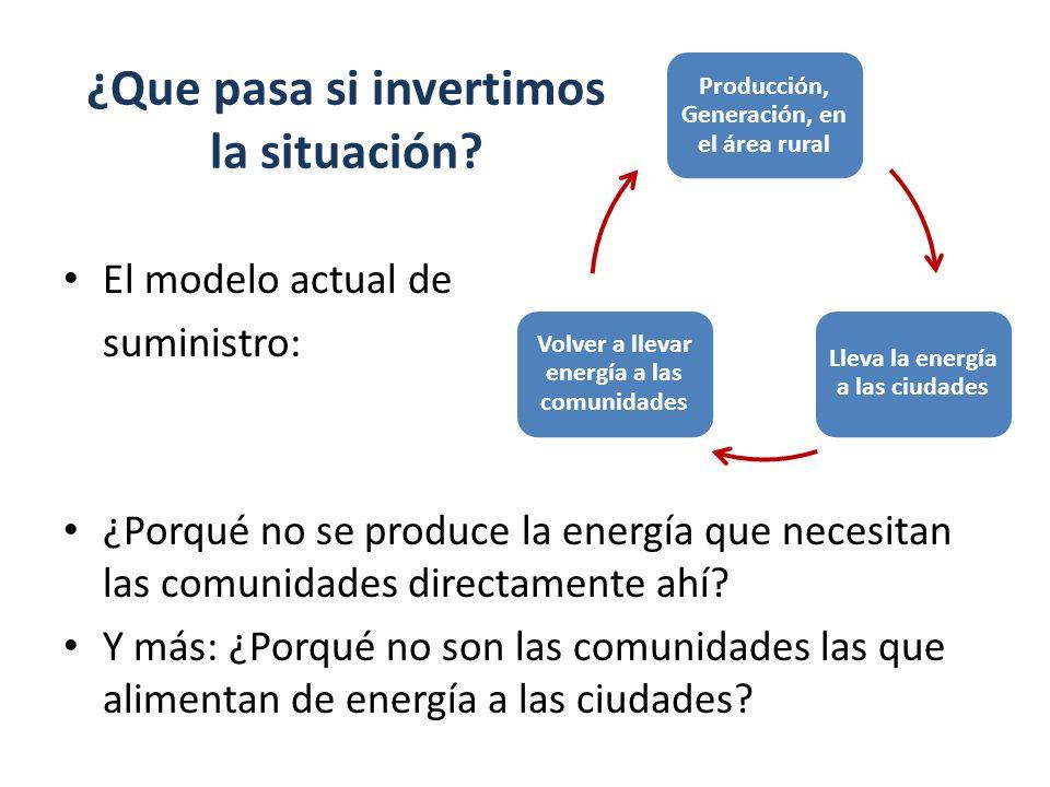 ¿Que pasa si invertimos la situación? El modelo actual de suministro: ¿Porqué no se produce la energía que necesitan las comunidades directamente ahí?