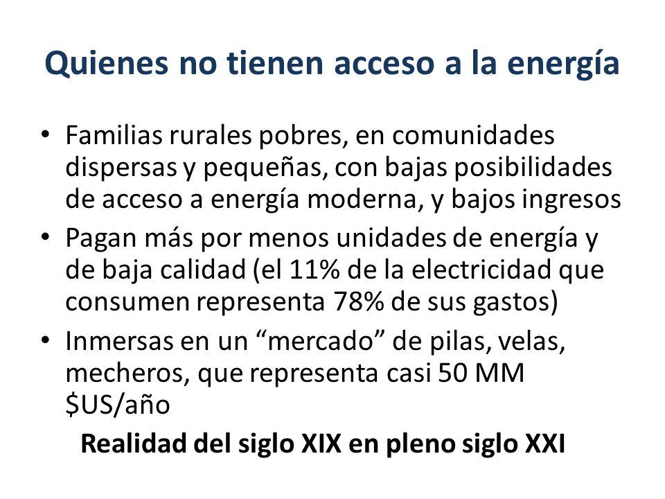 Quienes no tienen acceso a la energía Familias rurales pobres, en comunidades dispersas y pequeñas, con bajas posibilidades de acceso a energía modern