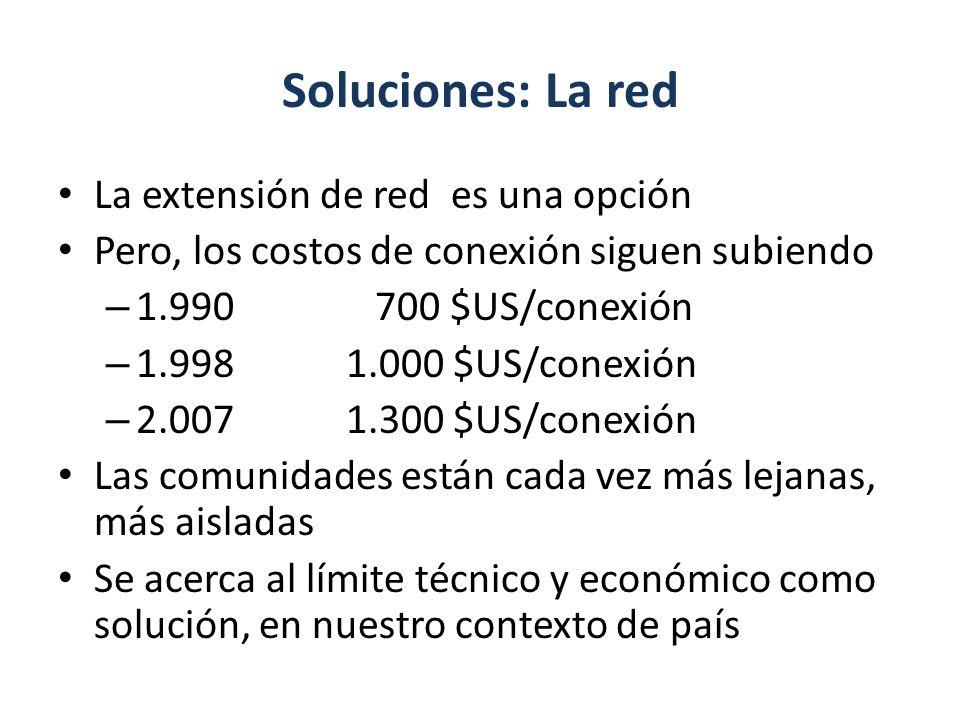 Soluciones: La red La extensión de red es una opción Pero, los costos de conexión siguen subiendo – 1.990 700 $US/conexión – 1.9981.000 $US/conexión –