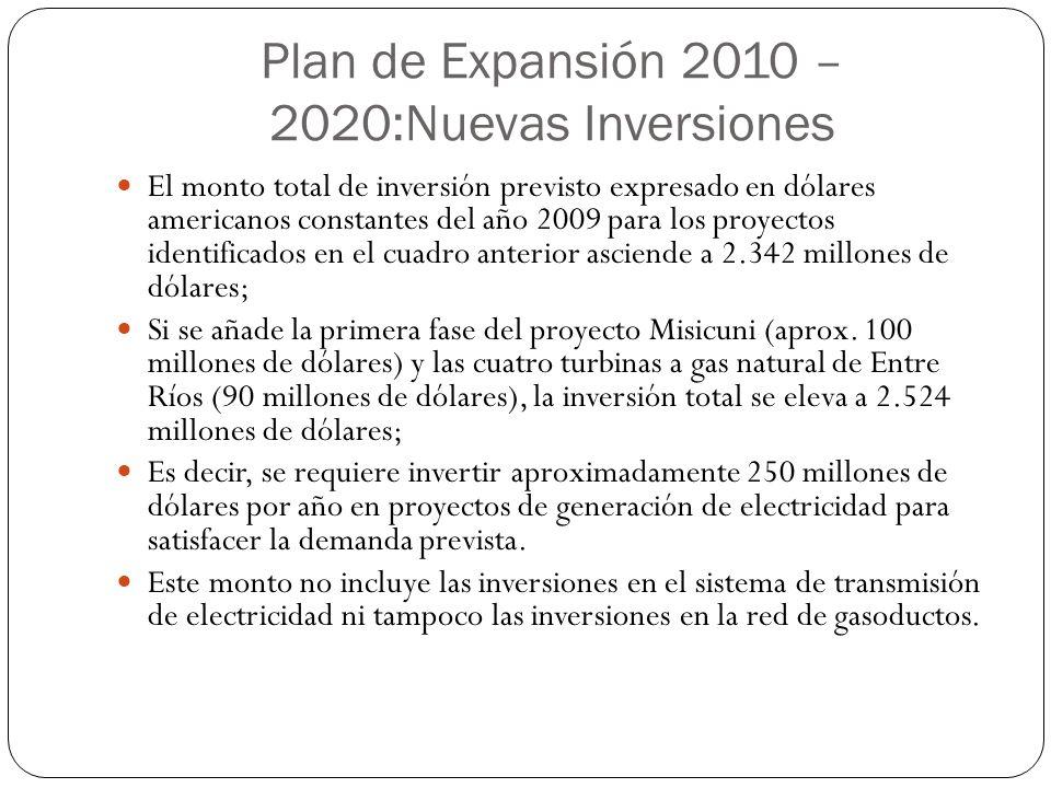 Plan de Expansión 2010 – 2020:Nuevas Inversiones El monto total de inversión previsto expresado en dólares americanos constantes del año 2009 para los