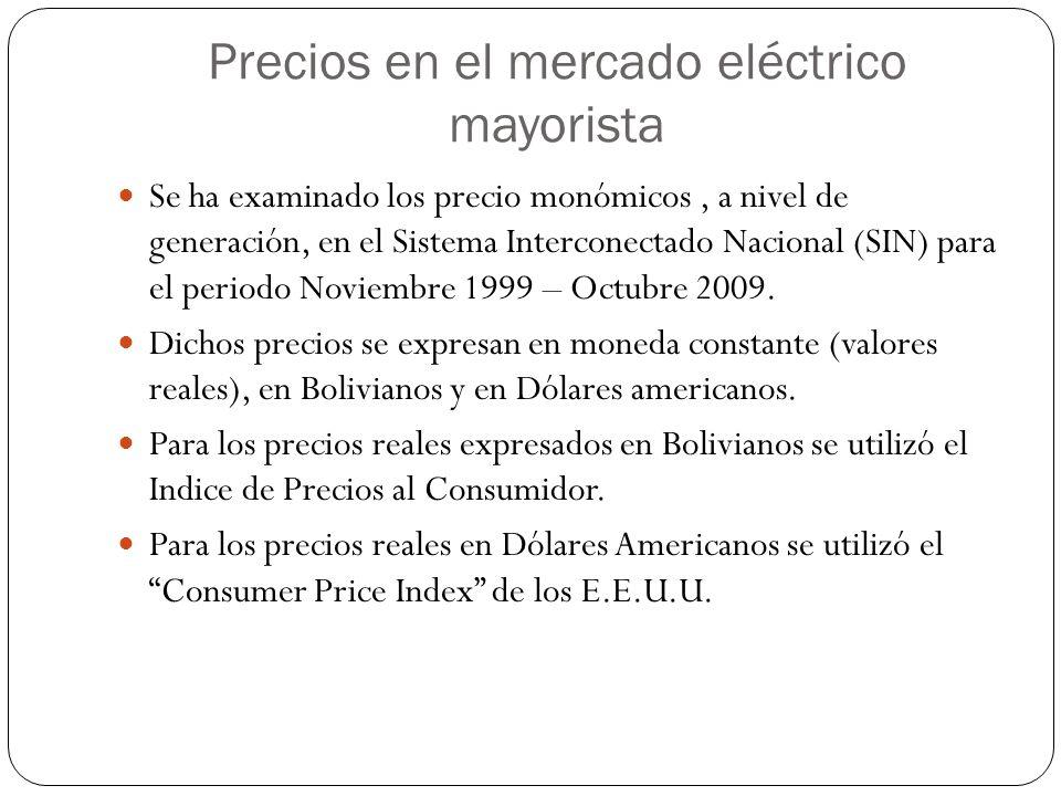 Precios en el mercado eléctrico mayorista Se ha examinado los precio monómicos, a nivel de generación, en el Sistema Interconectado Nacional (SIN) par