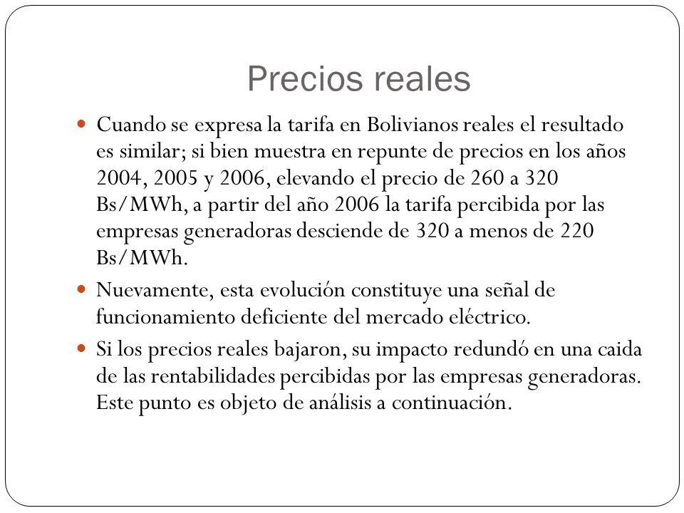 Precios reales Cuando se expresa la tarifa en Bolivianos reales el resultado es similar; si bien muestra en repunte de precios en los años 2004, 2005