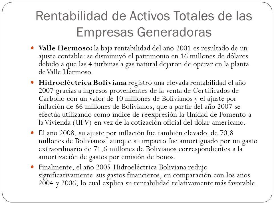 Valle Hermoso: la baja rentabilidad del año 2001 es resultado de un ajuste contable: se disminuyó el patrimonio en 16 millones de dólares debido a que