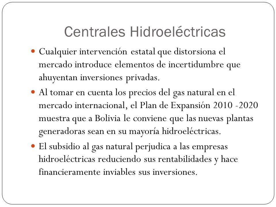 Centrales Hidroeléctricas Cualquier intervención estatal que distorsiona el mercado introduce elementos de incertidumbre que ahuyentan inversiones pri