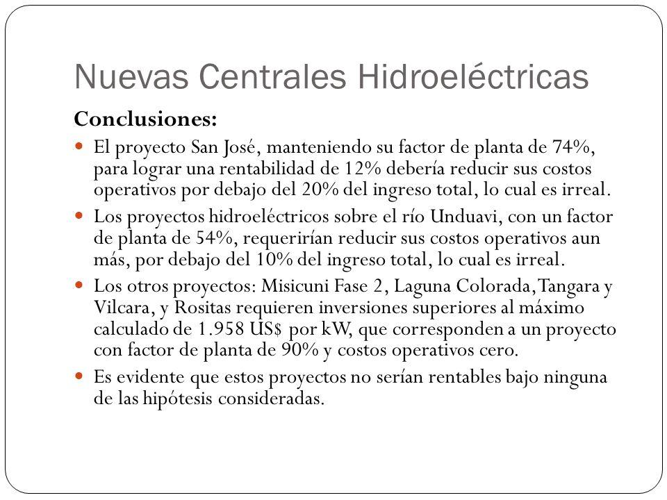 Nuevas Centrales Hidroeléctricas Conclusiones: El proyecto San José, manteniendo su factor de planta de 74%, para lograr una rentabilidad de 12% deber