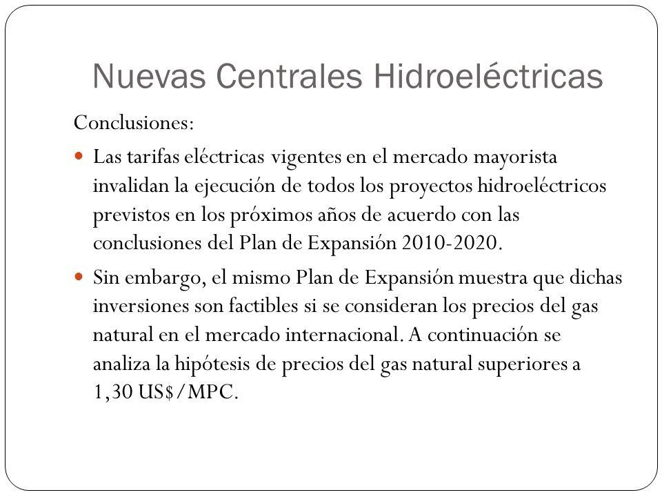 Nuevas Centrales Hidroeléctricas Conclusiones: Las tarifas eléctricas vigentes en el mercado mayorista invalidan la ejecución de todos los proyectos h