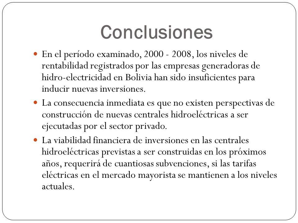 Conclusiones En el período examinado, 2000 - 2008, los niveles de rentabilidad registrados por las empresas generadoras de hidro-electricidad en Boliv