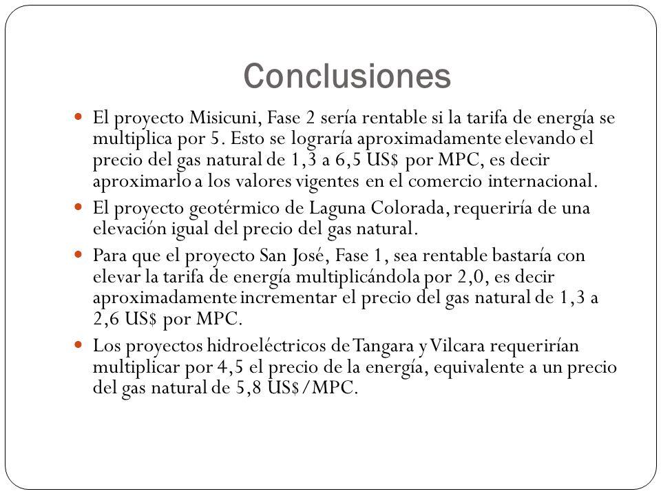 Conclusiones El proyecto Misicuni, Fase 2 sería rentable si la tarifa de energía se multiplica por 5. Esto se lograría aproximadamente elevando el pre