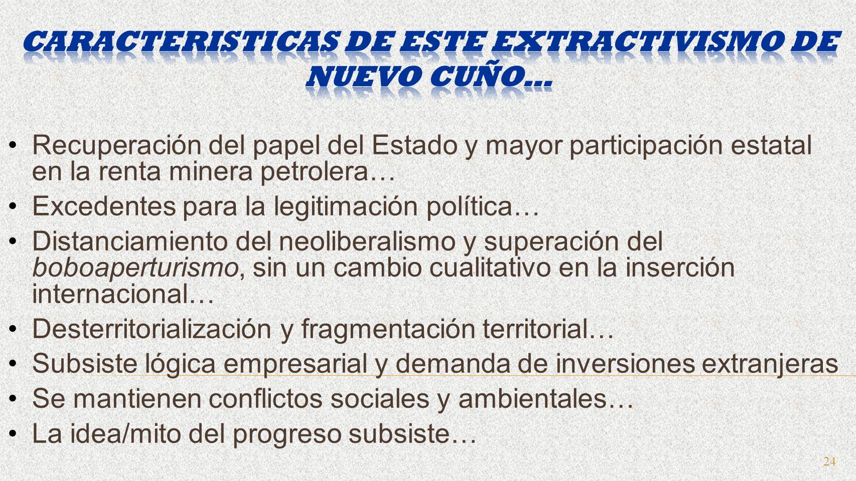 24 Recuperación del papel del Estado y mayor participación estatal en la renta minera petrolera… Excedentes para la legitimación política… Distanciami