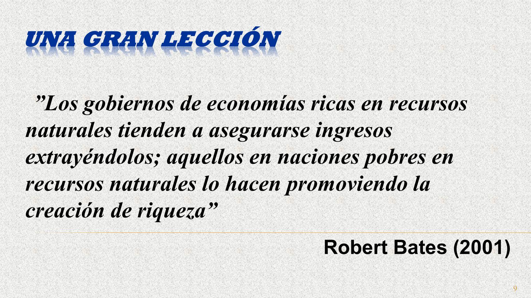 9 Los gobiernos de economías ricas en recursos naturales tienden a asegurarse ingresos extrayéndolos; aquellos en naciones pobres en recursos naturales lo hacen promoviendo la creación de riqueza Robert Bates (2001)
