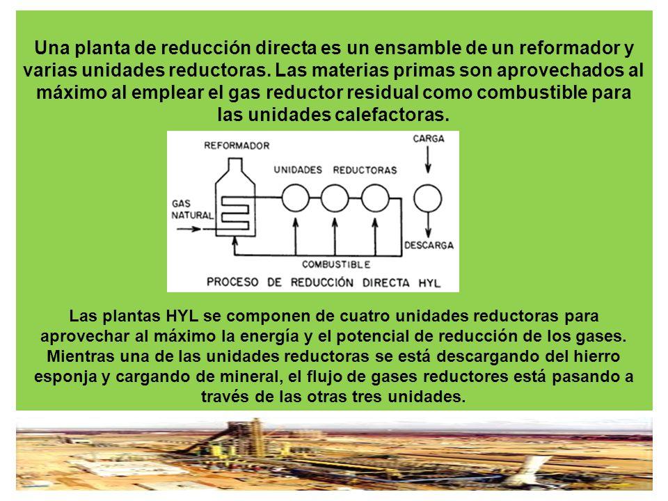 Una planta de reducción directa es un ensamble de un reformador y varias unidades reductoras. Las materias primas son aprovechados al máximo al emplea