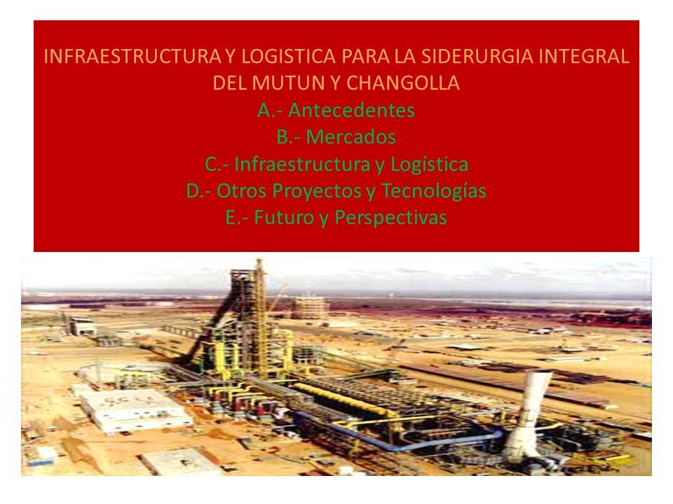 INFRAESTRUCTURA Y LOGISTICA PARA LA SIDERURGIA INTEGRAL DEL MUTUN Y CHANGOLLA A.- Antecedentes B.- Mercados C.- Infraestructura y Logística D.- Otros