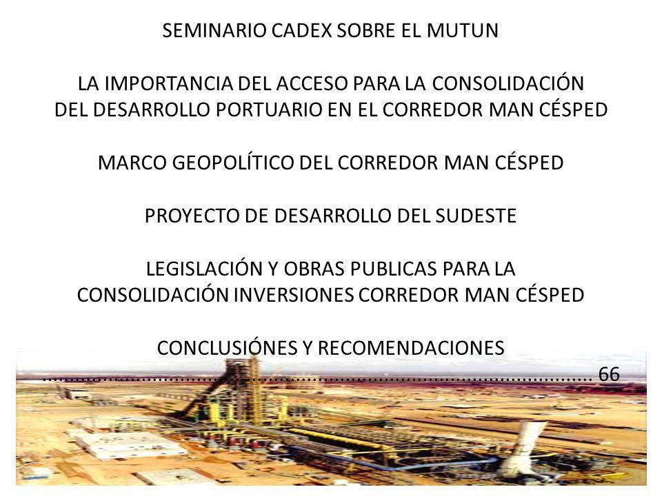 SEMINARIO CADEX SOBRE EL MUTUN LA IMPORTANCIA DEL ACCESO PARA LA CONSOLIDACIÓN DEL DESARROLLO PORTUARIO EN EL CORREDOR MAN CÉSPED MARCO GEOPOLÍTICO DE