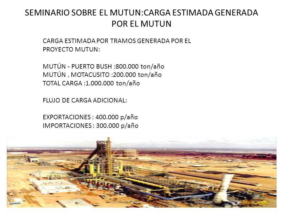 SEMINARIO SOBRE EL MUTUN:CARGA ESTIMADA GENERADA POR EL MUTUN CARGA ESTIMADA POR TRAMOS GENERADA POR EL PROYECTO MUTUN: MUTÚN - PUERTO BUSH :800.000 t