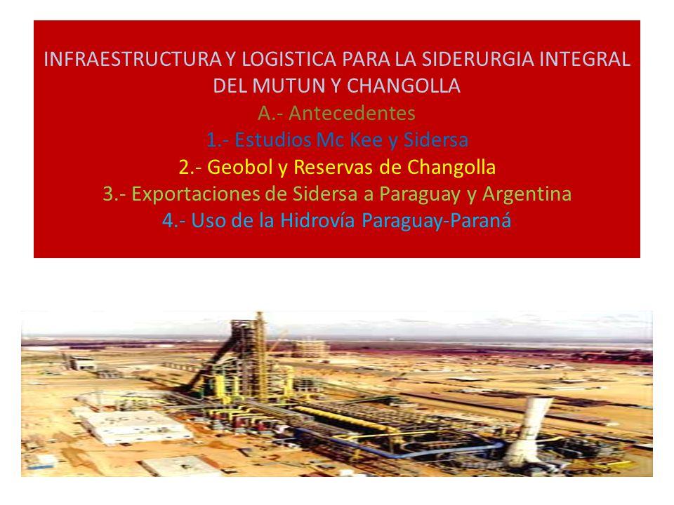 INFRAESTRUCTURA Y LOGISTICA PARA LA SIDERURGIA INTEGRAL DEL MUTUN Y CHANGOLLA A.- Antecedentes 1.- Estudios Mc Kee y Sidersa 2.- Geobol y Reservas de