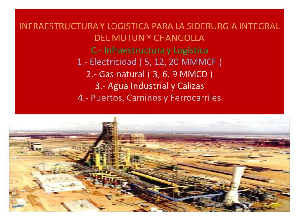 INFRAESTRUCTURA Y LOGISTICA PARA LA SIDERURGIA INTEGRAL DEL MUTUN Y CHANGOLLA C.- Infraestructura y Logística 1.- Electricidad ( 5, 12, 20 MMMCF ) 2.-