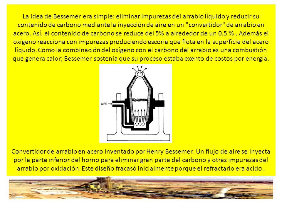 INFRAESTRUCTURA Y LOGISTICA PARA LA SIDERURGIA INTEGRAL La idea de Bessemer era simple: eliminar impurezas del arrabio líquido y reducir su contenido