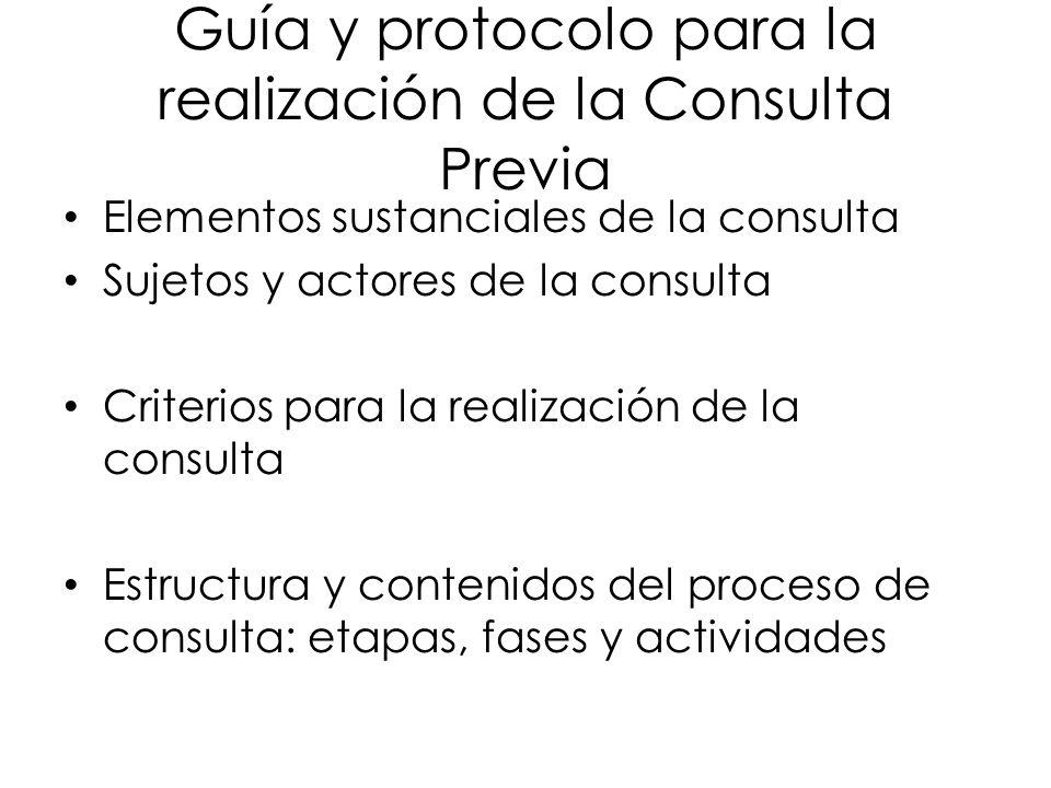 Guía y protocolo para la realización de la Consulta Previa Elementos sustanciales de la consulta Sujetos y actores de la consulta Criterios para la re
