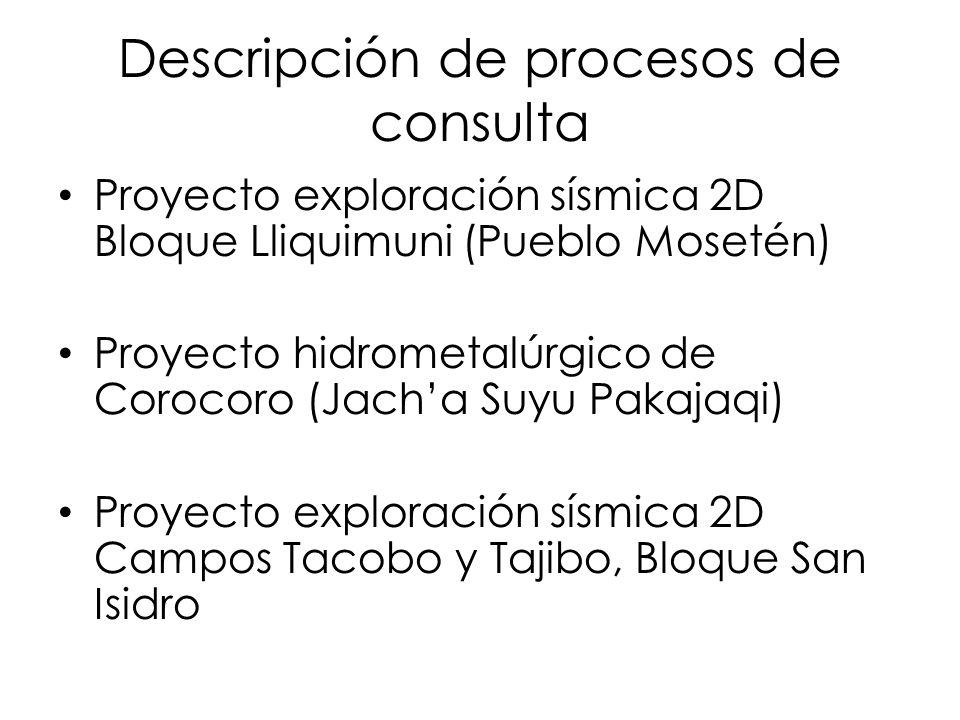 Descripción de procesos de consulta Proyecto exploración sísmica 2D Bloque Lliquimuni (Pueblo Mosetén) Proyecto hidrometalúrgico de Corocoro (Jacha Su