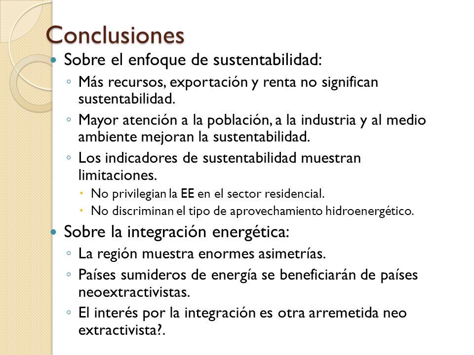 Conclusiones Sobre el enfoque de sustentabilidad: Más recursos, exportación y renta no significan sustentabilidad. Mayor atención a la población, a la
