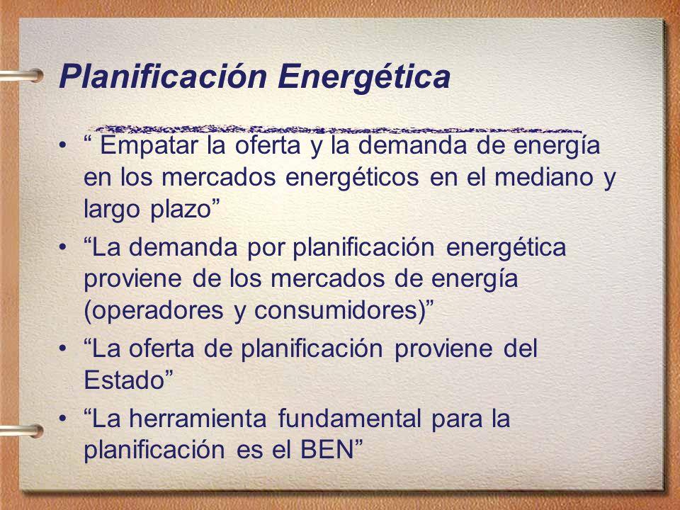 Planificación Energética Empatar la oferta y la demanda de energía en los mercados energéticos en el mediano y largo plazo La demanda por planificació
