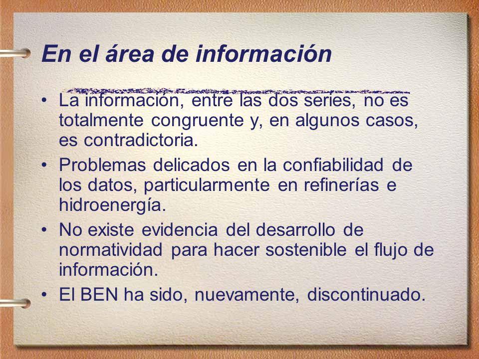 En el área de información La información, entre las dos series, no es totalmente congruente y, en algunos casos, es contradictoria. Problemas delicado