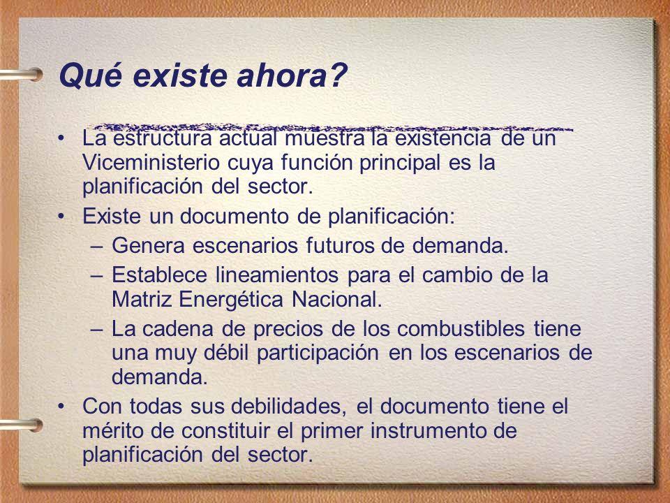 Qué existe ahora? La estructura actual muestra la existencia de un Viceministerio cuya función principal es la planificación del sector. Existe un doc