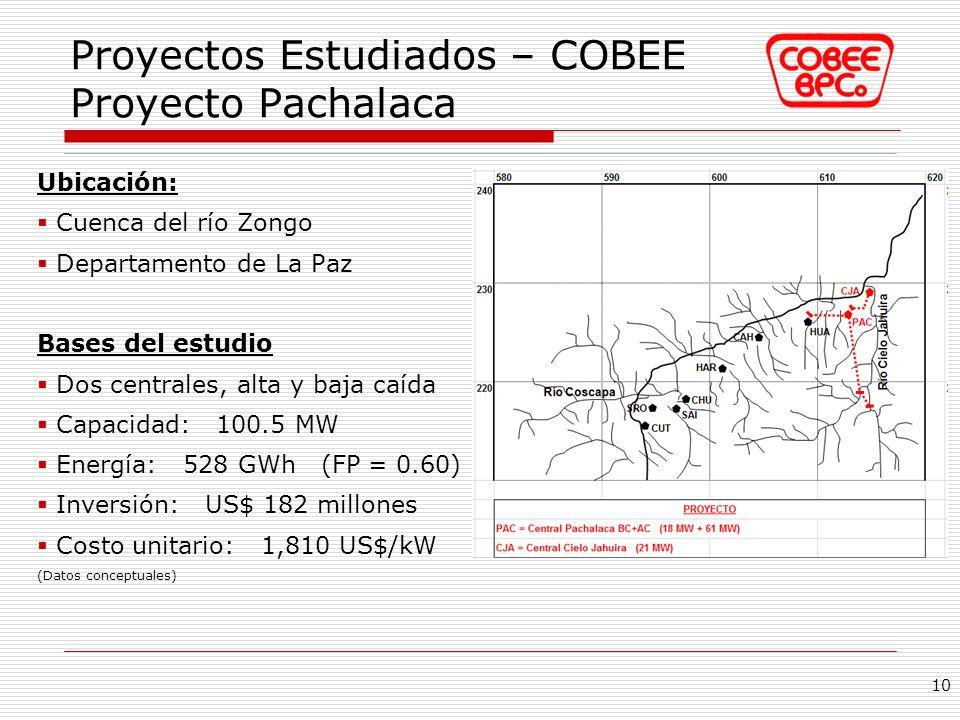 Proyectos Estudiados – COBEE Proyecto Pachalaca Ubicación: Cuenca del río Zongo Departamento de La Paz Bases del estudio Dos centrales, alta y baja ca