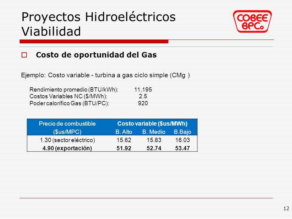 Proyectos Hidroeléctricos Viabilidad Costo de oportunidad del Gas Ejemplo: Costo variable - turbina a gas ciclo simple (CMg ) 12 Rendimiento promedio