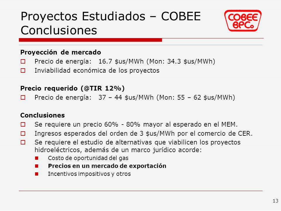 Proyectos Estudiados – COBEE Conclusiones Proyección de mercado Precio de energía: 16.7 $us/MWh (Mon: 34.3 $us/MWh) Inviabilidad económica de los proy