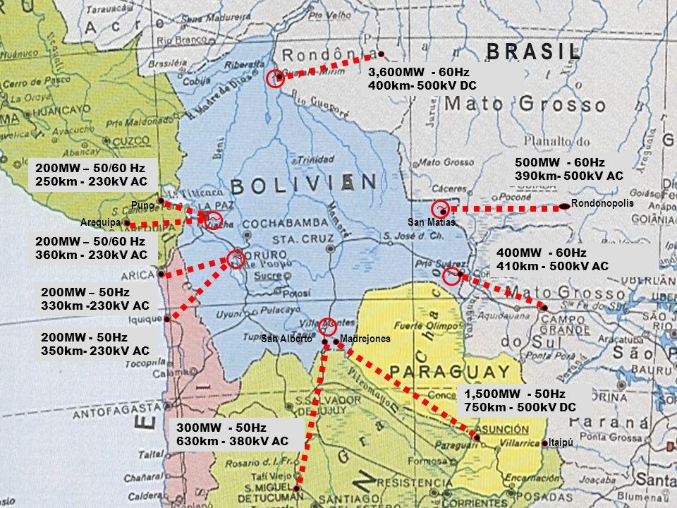 A Rondonopolis MadrejonesSan Alberto 400MW - 60Hz 410km - 500kV AC B R A S I L Itaipú 500MW - 60Hz 390km- 500kV AC 300MW - 50Hz 630km - 380kV AC 200MW
