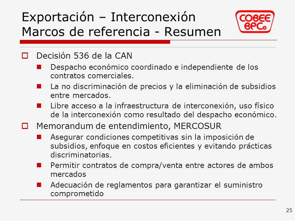 Exportación – Interconexión Marcos de referencia - Resumen Decisión 536 de la CAN Despacho económico coordinado e independiente de los contratos comer