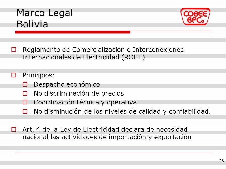 Reglamento de Comercialización e Interconexiones Internacionales de Electricidad (RCIIE) Principios: Despacho económico No discriminación de precios C