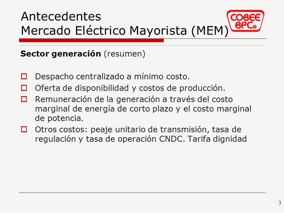 Antecedentes Mercado Eléctrico Mayorista (MEM) Sector generación (resumen) Despacho centralizado a mínimo costo. Oferta de disponibilidad y costos de