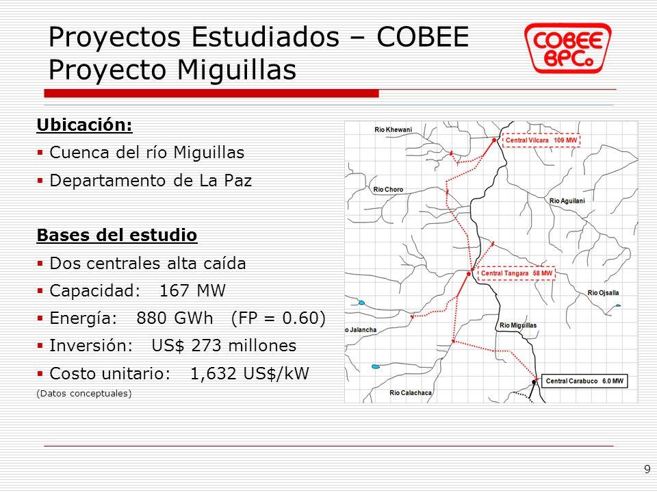 Proyectos Estudiados – COBEE Proyecto Miguillas Ubicación: Cuenca del río Miguillas Departamento de La Paz Bases del estudio Dos centrales alta caída