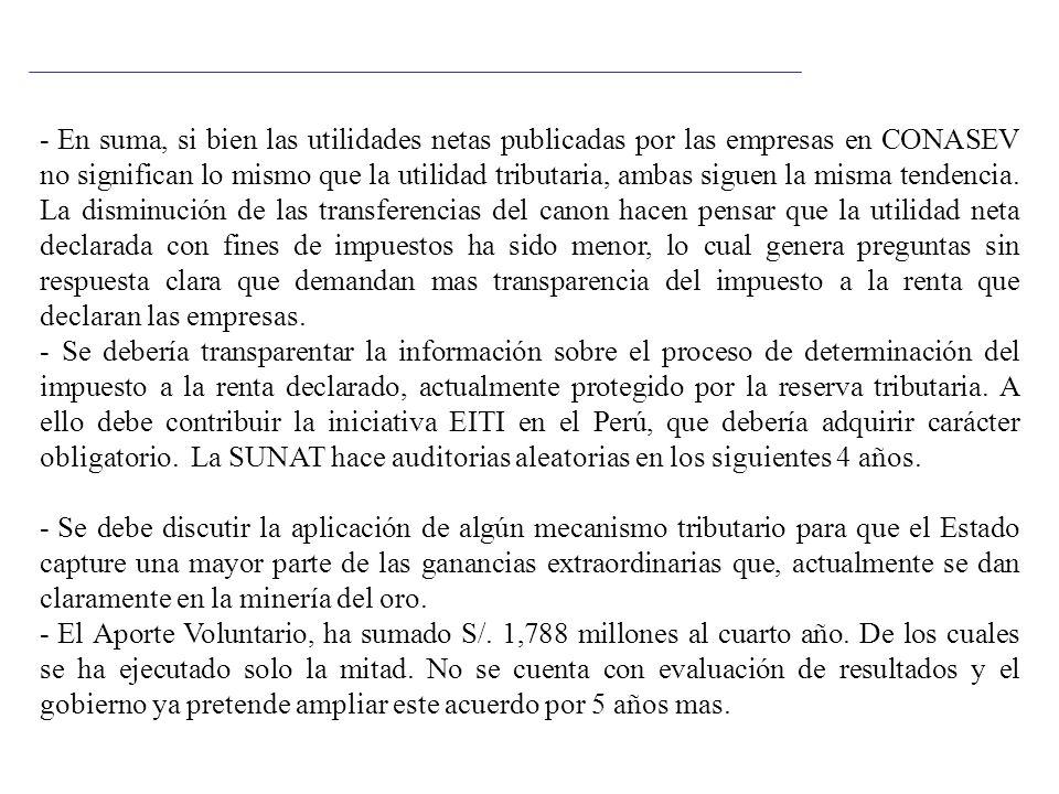 - En suma, si bien las utilidades netas publicadas por las empresas en CONASEV no significan lo mismo que la utilidad tributaria, ambas siguen la mism