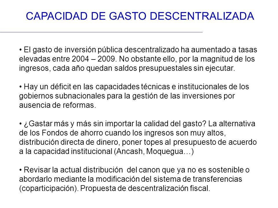 CAPACIDAD DE GASTO DESCENTRALIZADA El gasto de inversión pública descentralizado ha aumentado a tasas elevadas entre 2004 – 2009. No obstante ello, po