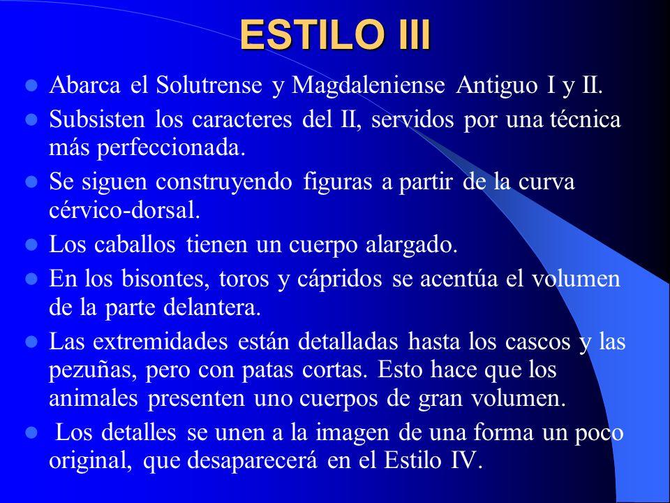 ESTILO III Abarca el Solutrense y Magdaleniense Antiguo I y II. Subsisten los caracteres del II, servidos por una técnica más perfeccionada. Se siguen