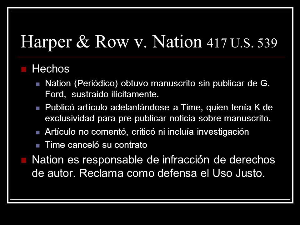 Harper & Row v.Nation 417 U.S. 539 Hechos Nation (Periódico) obtuvo manuscrito sin publicar de G.