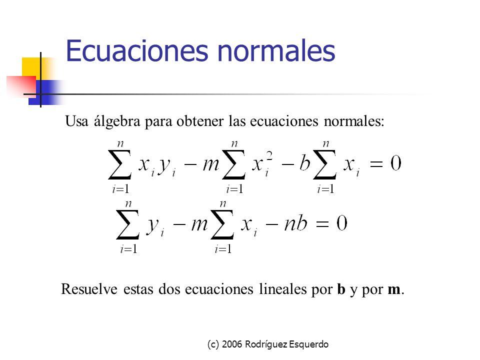(c) 2006 Rodríguez Esquerdo Minimiza la suma de cuadrados Toma las derivadas de SS con respecto a m, b: