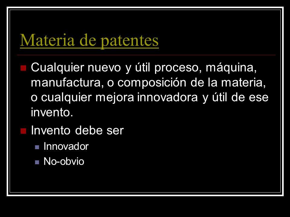 Patentes 35 U.S.C.A Acuerdo entre el inventor y el público por hacer y divulgar el invento, el público le da al inventor el derecho de: impedir que ot