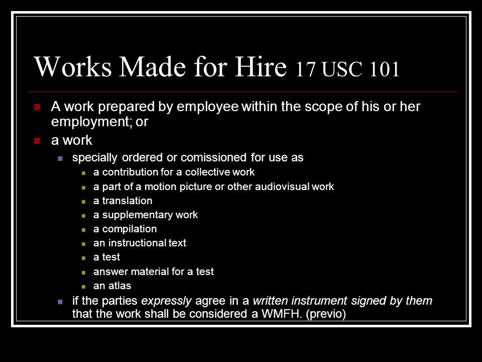 Autor Persona que realmente crea el trabajo. Es quien traduce una idea a una expresión tangible fija. CCNC v Reid, 17 USC 102 Quien muestra la existen