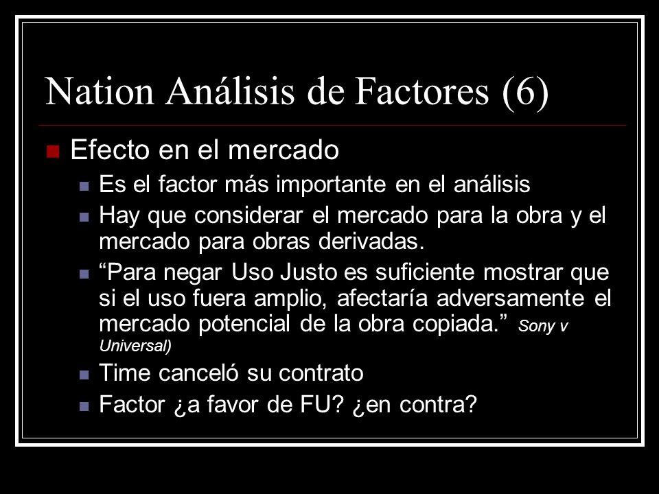 Nation Análisis de Factores (5) Cantidad y substancialidad (cont) 13% del artículo se compone de material copiado Menos del 1% del libro fue copiado F